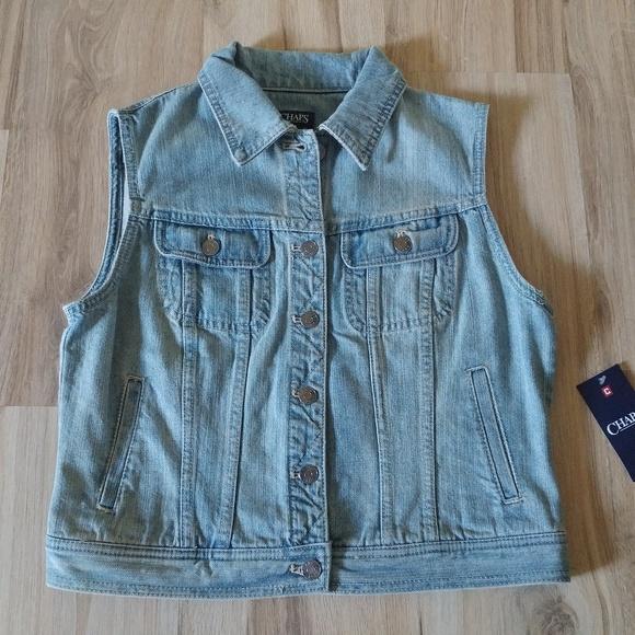 4cb3b113586 Chaps Denim Jean Vest Women s Medium New  78